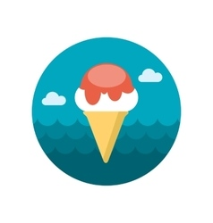 Ice Cream flat icon with long shadow vector image