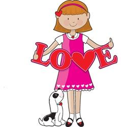 little girl love vector image vector image