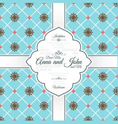 vintage blue spanish pattern card vector image vector image