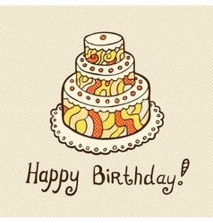 Birthday card with cake on neutral textured vector image vector image