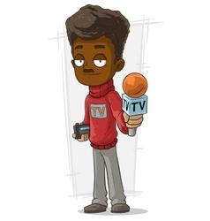 Cartoon tv journalist in red pullover vector