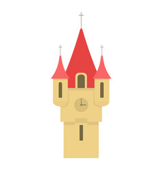 castle tower with red pointed domes icon vector image vector image