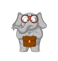elephant nerd with glasses holding a briefcase vector image vector image