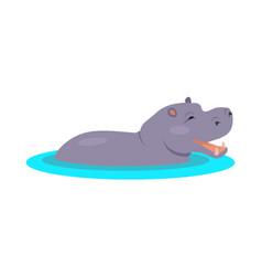 hippo cartoon icon in flat design vector image