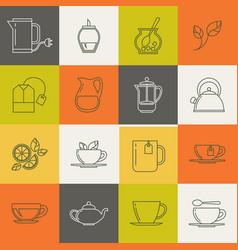 multicolor tea line icons set vector image