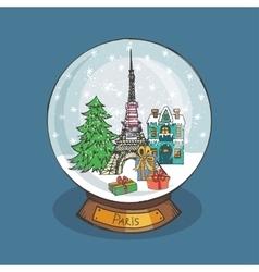 Paris Christmas Snow globeDoodle cityNoel vector image vector image