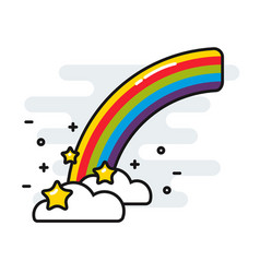 rainbow with stars and clouds cute black outline vector image vector image