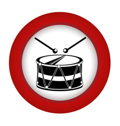 red circle with drum and drum stick vector image