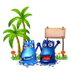 Two happy blue monsters in front of the wooden vector image vector image