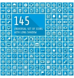 Universal set of icons with long shadow vector image