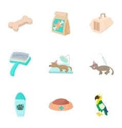 Veterinary icons set cartoon style vector image vector image