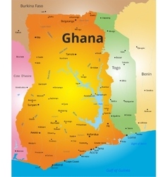 color map of Ghana vector image vector image