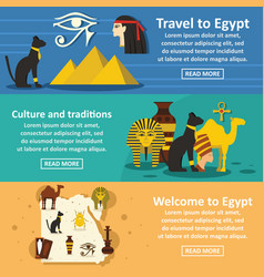 egypt travel banner horizontal set flat style vector image vector image