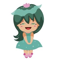 kawaii cheerful magic-green baby-grls vector image vector image