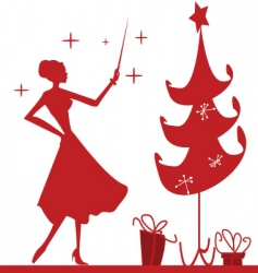 christmas silhouette vector image vector image