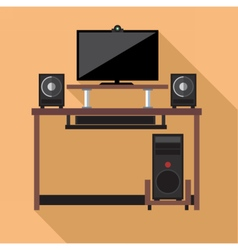 Digital pc computer with monitors vector image vector image
