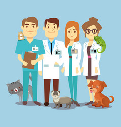 flat veterinarians staff with cute animals vector image