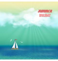Retro Sea Yacht Summer Travel Poster vector image vector image