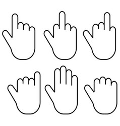 set gestures of the fingers of the hand palm set vector image