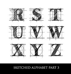 Sketched diagram alphabet set 3 vector