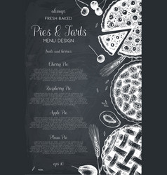 vintage template with traditional cakes vector image vector image