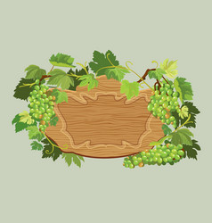 wooden oval frame with green grapes and leaves vector image