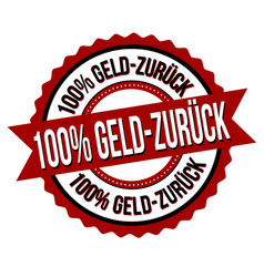 100 money back on german language label or sticker vector image