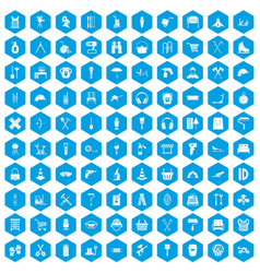 100 outfit icons set blue vector