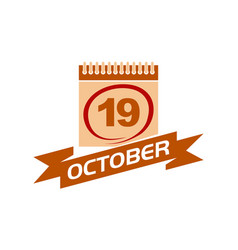 19 october calendar with ribbon vector image