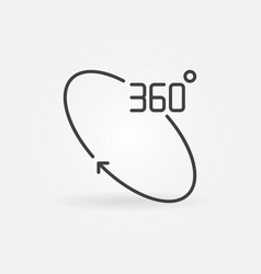 360 degree rotation outline concept icon vector