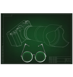 3d model of the camera on a green vector