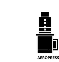 Aeropress icon black sign with editable vector