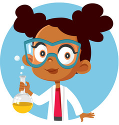 African student girl taking a science chemistry vector