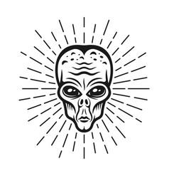 Alien head with rays black vector