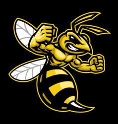angry hornet wasp mascot vector image
