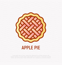 Apple pie thin line icon vector