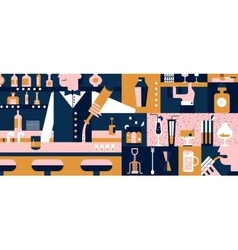 Bar and bartender background flat vector