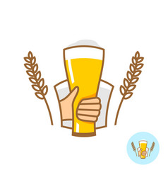 beer glass with hand and wheat ears logo vector image