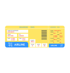 blue yellow air ticket plane with text vector image