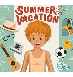 Boy and summer vacation theme vector