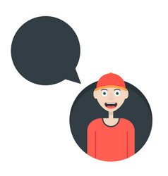 Boy in red baseball cap with speech bubble vector