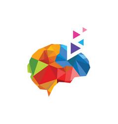 Brain triangle technology logo vector