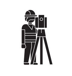 building surveyor black concept icon vector image