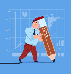 business man holding big pencil writing office vector image