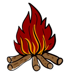 campfire on white background vector image