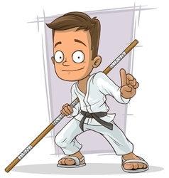 Cartoon young karate boy in white kimono vector image