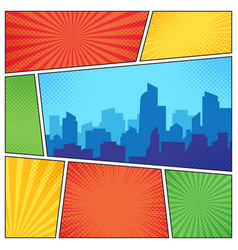 city on comic page comics book frames composition vector image