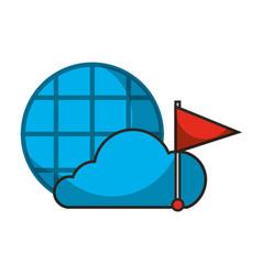 cloud marker flag location autonomous car vector image