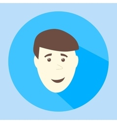 Color smile flat icon man face emotion vector image