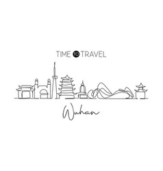 continuous one line drawing wuhan city skyline vector image